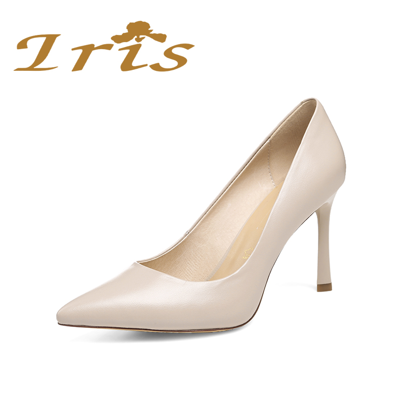 IRIS Shoes Woman High Heels Nude Beige Genuine Leather Women Wedding Pumps Pointed Toe Sexy Zapatos Mujer High quality 2017 New