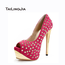 Women Sandals 2017 New Women Humps High Heels Thin Heel Peep Toe Spring Autumn Handmade Shoes Rivets Decoration US Size 4-15