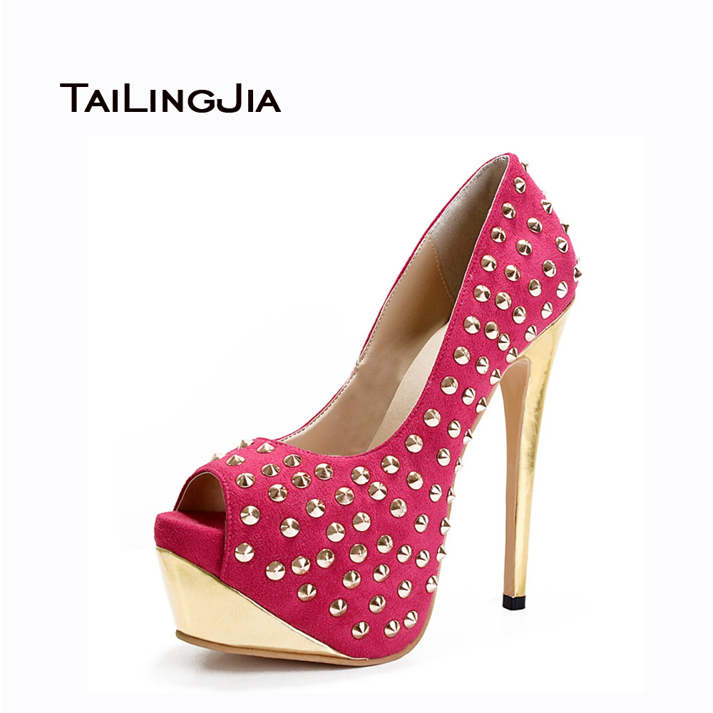 ФОТО Women Sandals 2017 New Women Humps High Heels Thin Heel Peep Toe Spring Autumn Handmade Shoes Rivets Decoration US Size 4-15