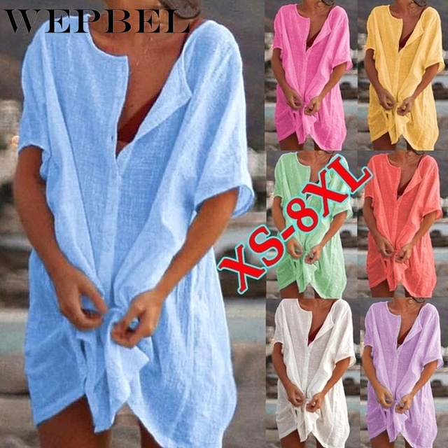 WEPBEL Womens Fashion Summer Short Sleeve Long Blouses Casual Loose Solid Color Plus Size Beach Wear Cover-up Short Linen Blouse 1