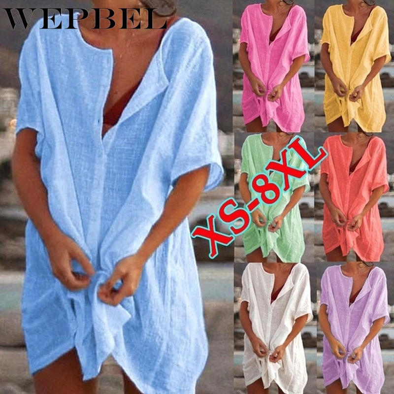 WEPBEL Womens Fashion Summer Short Sleeve Long Blouses Casual Loose Solid Color Plus Size Beach Wear Cover-up Short Linen Blouse