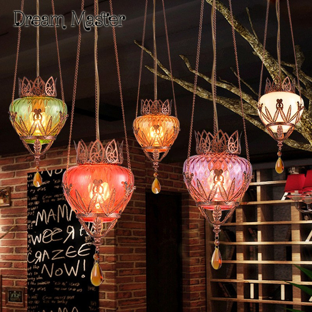Turkey Style Small Chandelier Southeast Asian Personalized Dining Table Bar Glass Pendant Lamp Postage Free