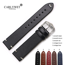 цена на CARLYWET 20 22 24mm Cowhide Smooth Vintage Leather Black Brown Blue Red Watch Band Strap Belt Polish Buckle For Rolex Omega IWC