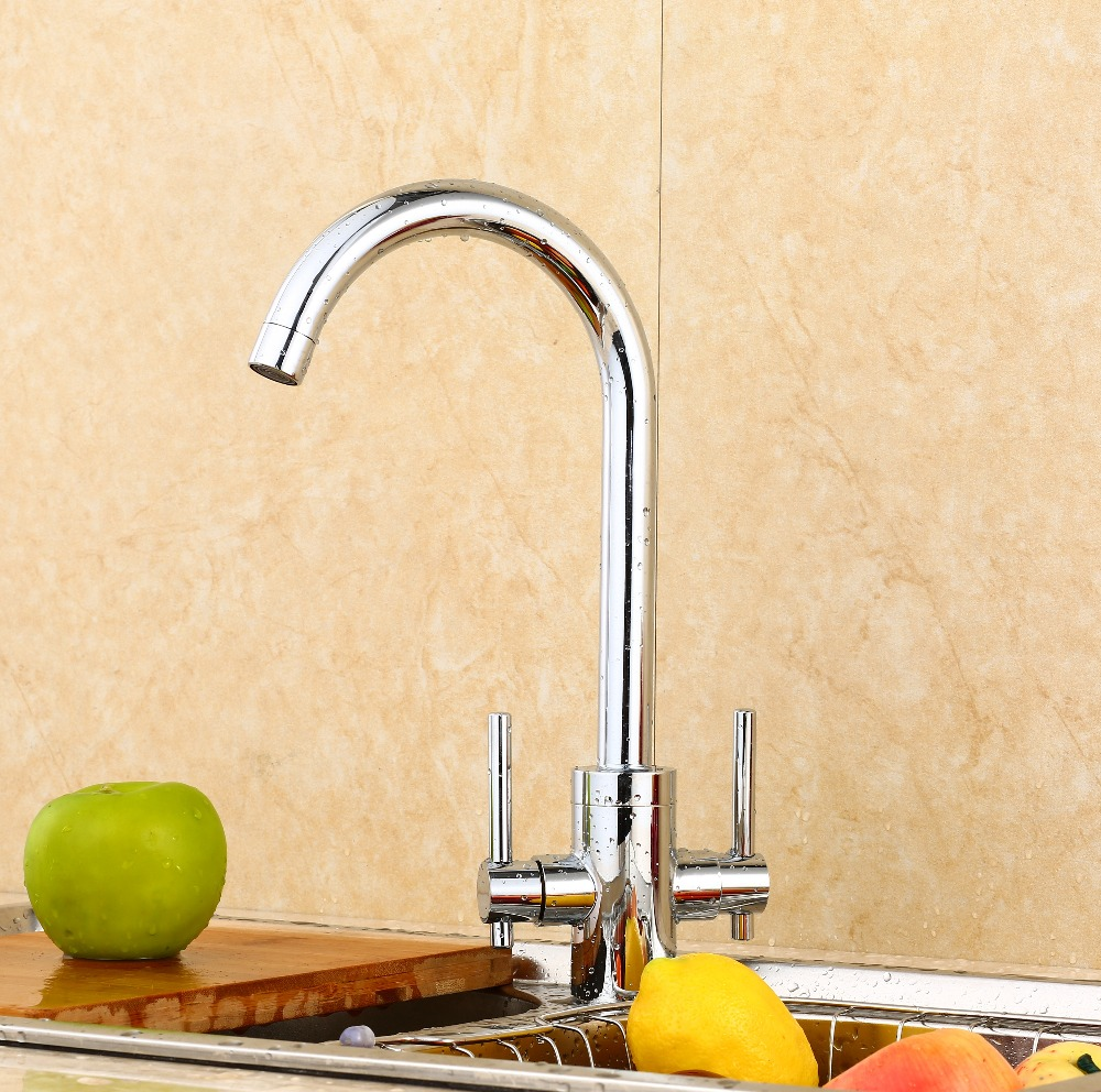 Hot Sale Fashion Double Handle Kitchen Faucet Brass Material Modern Chrome Design Hot And Cold Wash