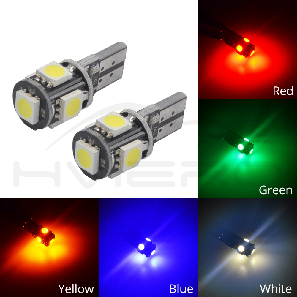 Hviero T10 5050 5SMD White Blue Car Led Canbus W5w 194 Error Free DC 12V Parking Bulb Clearance Wedge Dome Light Decoder Sign Trun Led