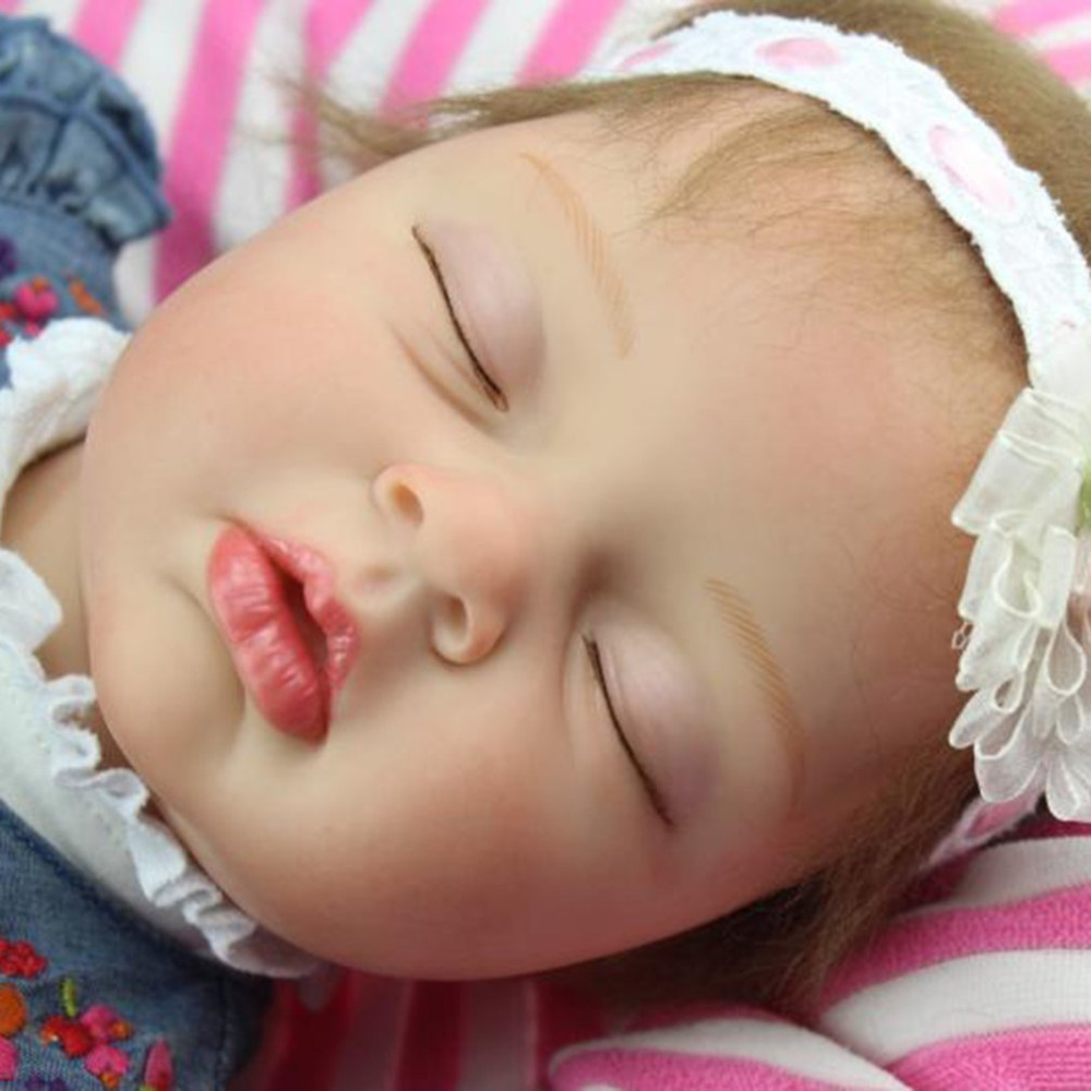 NPK 55CM Bebes Reborn Dolls Toys Soft Silicone Reborn Baby Doll Handmade Lifelike Sleeping Baby Doll Baby Girl Birthday Gift цена