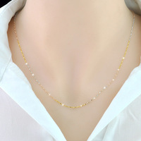 Three color silver necklace 925 silver plated gold necklace clavicle chain superfine Star Jewelry Necklace