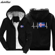 Thời Trang Mùa Đông Nóng Iceland Cờ Áo Hoodie Iceland Nhịp Tim Tặng Áo Khoác Nam Giữ Ấm Dây Kéo Hoody Áo Bông Tai Kẹp