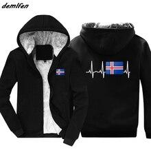 Winter Fashion Hot Ijsland Vlag Hoodie Ijslandse Hartslag Gift Jacket Mannen Warm Houden Rits Hoody Sweatshirt Harajuku