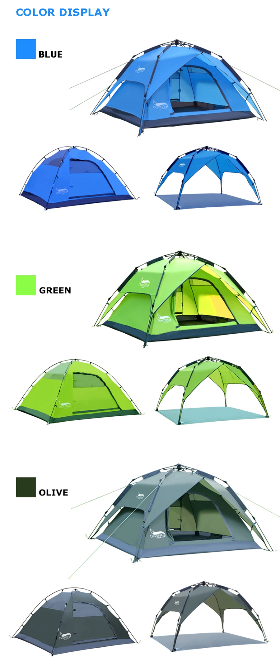 Desert&Fox Automatic Camping Tent, 3-4 Person Family Tent Double Layer Instant Setup Protable Backpacking Tent for Hiking Travel 7