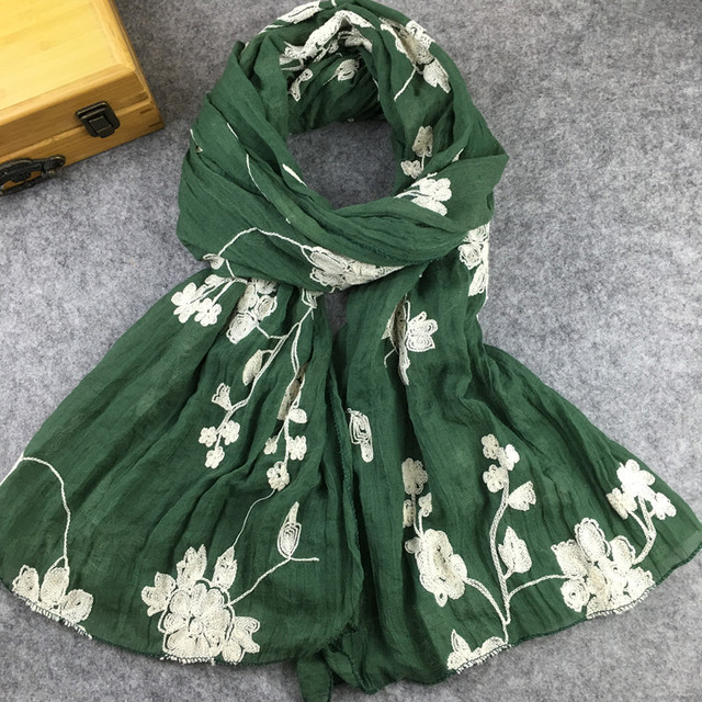 Ethnic Style Embroidered Cotton Scarves  for Women