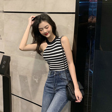 Summer Tank Top Women Fashion Personality Striped Casual Concise Slim Fit tops women Round Neck Sleeveless Camis Vest