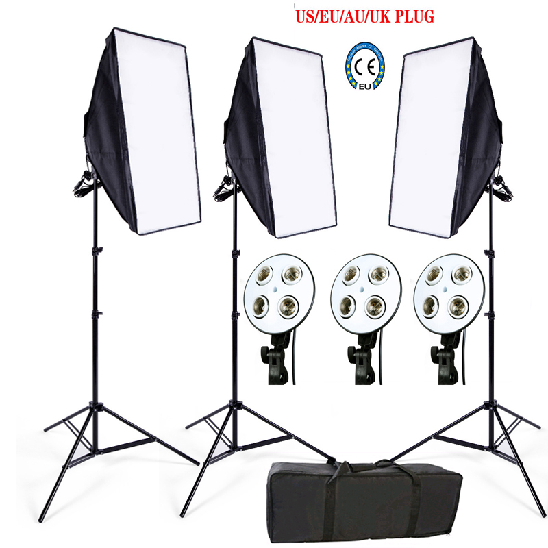 Photo Studio Softbox kit 3 lumière stand 3 lumière titulaire 3 softbox 1 pc sac de transport vidéo éclairage kit doux boîte Pas de LED