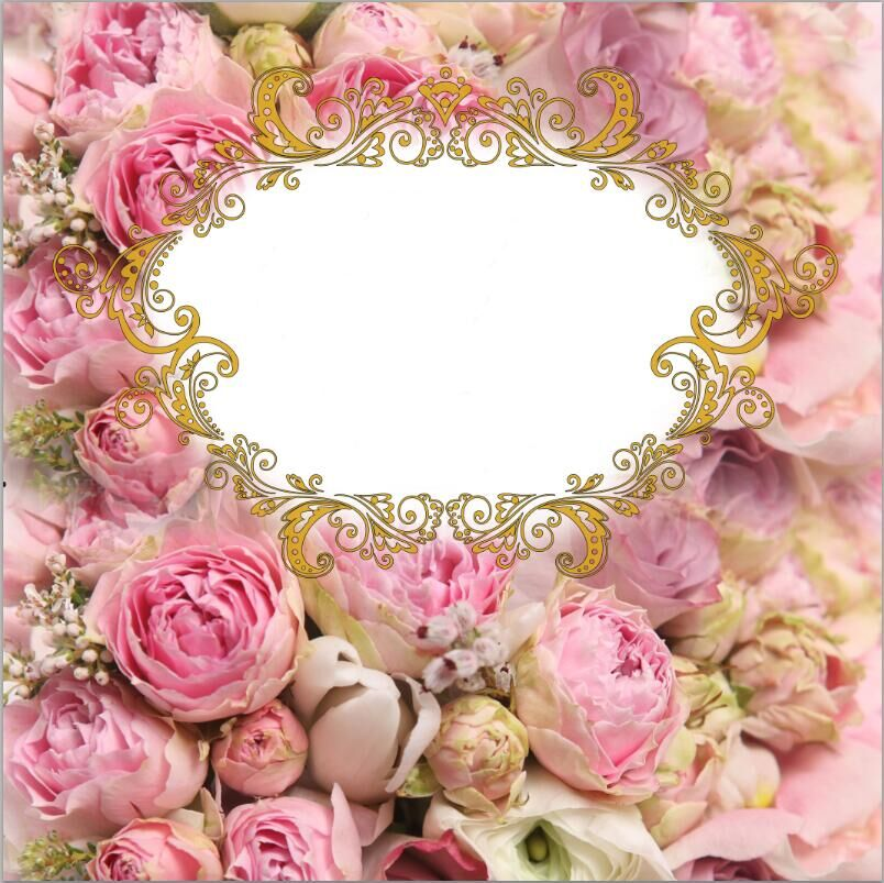 10x10ft Pink Flowers Floral Bud Gold Crown Custom Backdrop