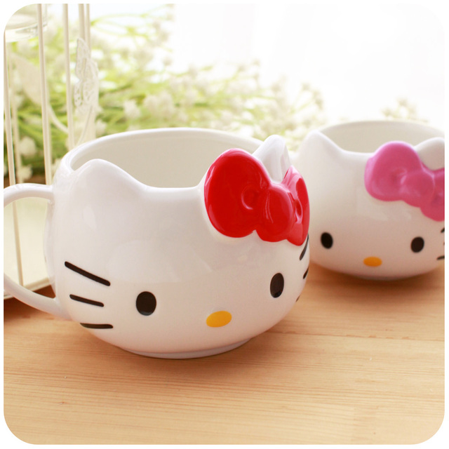 Free shipment Hearts . stereo hellokitty cute ceramic cup mug coffee cup milk cup