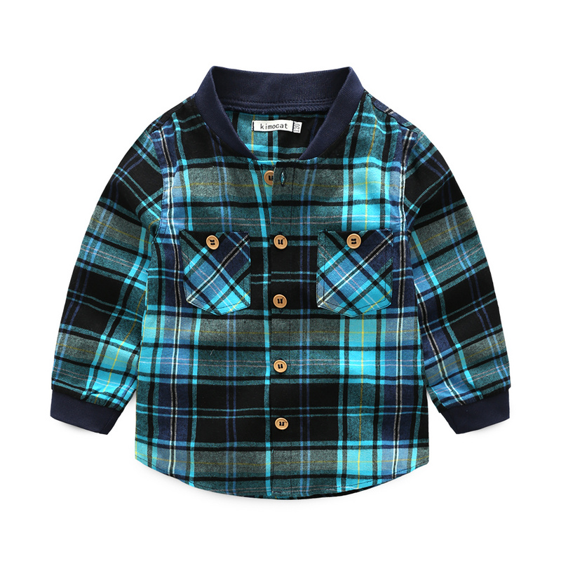 Kids Clothes Blue Plaid Shirts For Boys T-Shirt Child Childrens Clothing Baby Boy Clothes For 3-7 Y