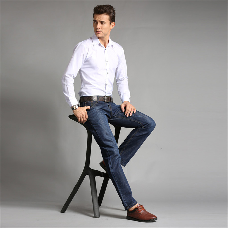 Hot sale good quality men jeans slim looking male full for Good quality mens dress shirts