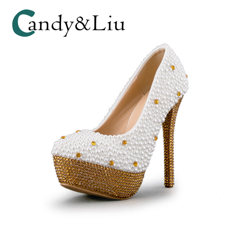 15df244f5 White and Gold Pearl Wedding Shoes Super High Heel Round Toe with Platform  Women Pumps for
