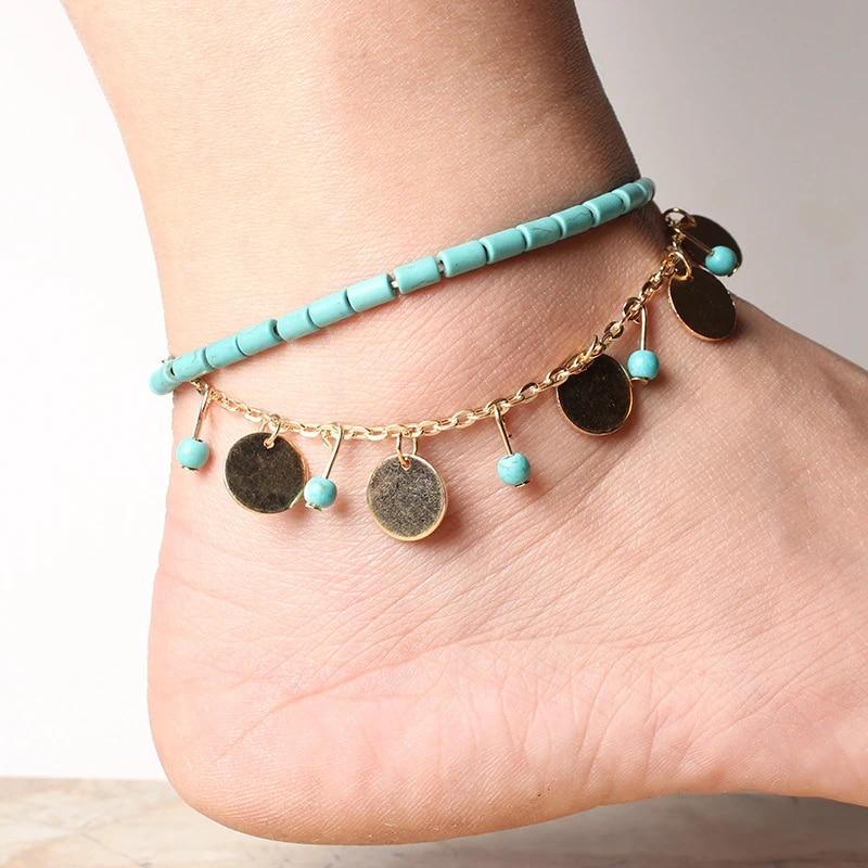 2Pcs//Set Bohemian Natural Shell Rope Anklet Bracelet Handmade Beach Foot Jewelry