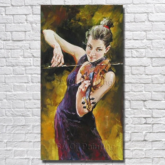Modern pure hand painted women play violin oil painting on canvas beautiful painting modern home