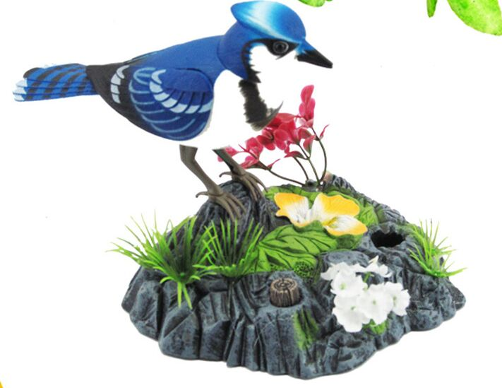 Batteries Operated Simulation Bird Ornament Sound Birdcall Blue Bird About 14x16cm Home Decoration Creative Toy