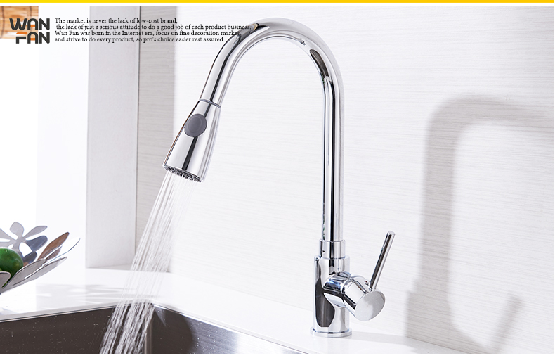 Kitchen Faucets Silver Single Handle Pull Out Kitchen Tap Single Hole Handle Swivel 360 Degree Water Mixer Tap Mixer Tap 408906 16