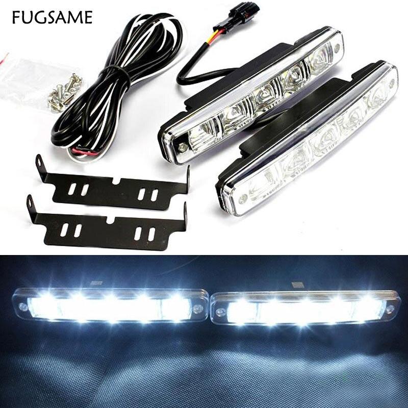 FUGSAME One pair 10W 12V auto led light drl daytime running light 5 led drl daylight kit 8000K ultra white drl lamp for Mazda