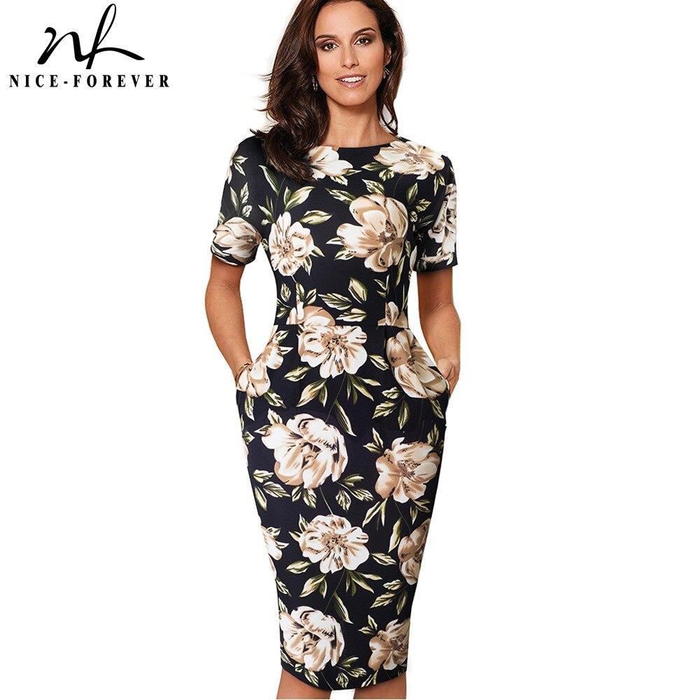 Nice-Forever Elegant Vintage Floral Print Casual Work vestidos Business Office Bodycon Sheath Women Dress B513