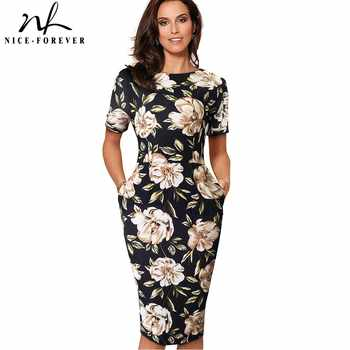 Nice-Forever Elegant Vintage Floral Print Casual Work vestidos Business Office Bodycon Sheath Women Dress B513 - DISCOUNT ITEM  40% OFF All Category