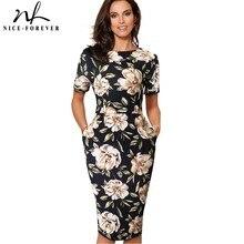 니스 영원히 우아한 빈티지 꽃 인쇄 캐주얼 작업 vestidos 비즈니스 사무실 Bodycon 시스 여성 드레스 B513