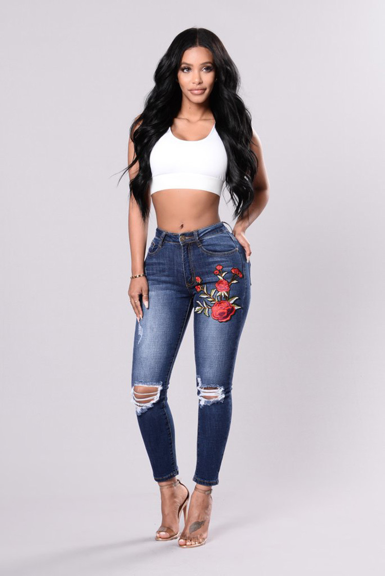 35aba6bbff Boyfriend Jeans For Women Washed Sexy Ripped Fashion Flower Embroidery Denim  Stretchy Skinny Pencil High- ...