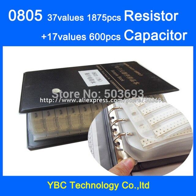 O envio gratuito de 0805 smd amostra book 37 valores 1875 pçs kit resistor e 17 valores 600pcs conjunto capacitor