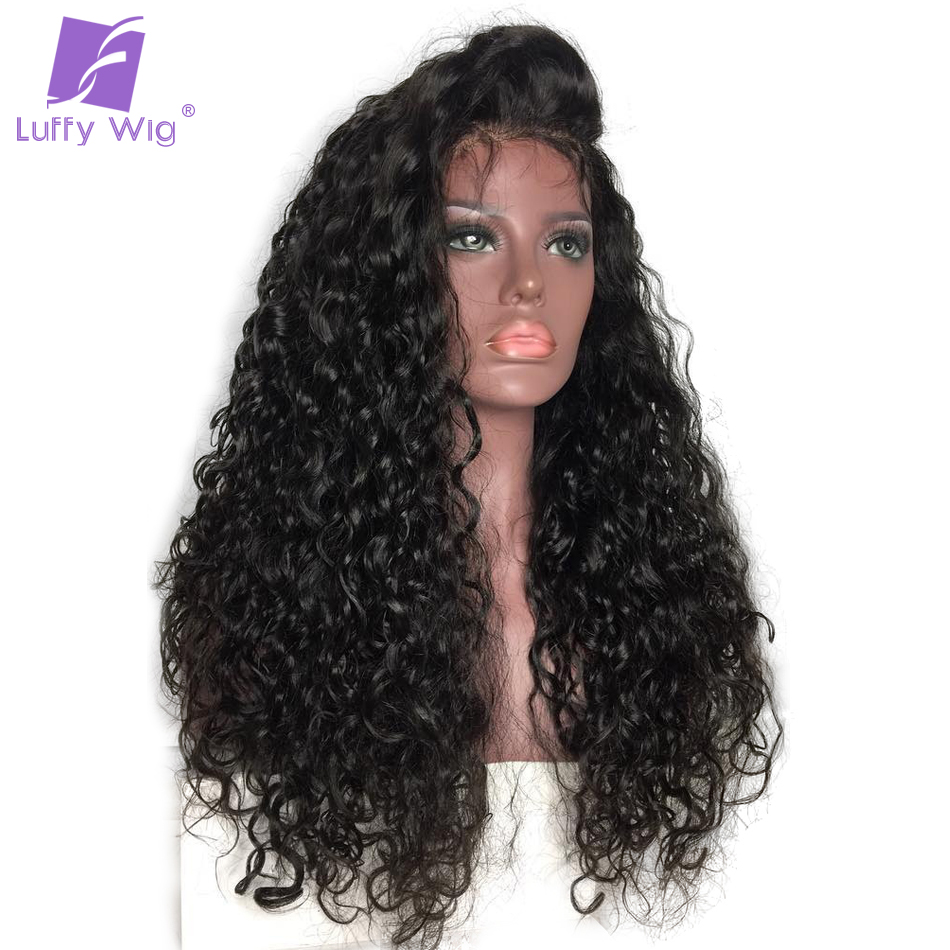 LUFFY 13*6 Deep Part Pre Plucked Lace Front Human Hair Wigs Curly Indian Non Remy Hair Natural Color For Black Women 130 density