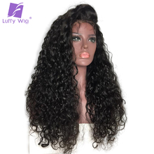 LUFFY Curly Indian Non Remy Hair 13*6 Deep Part Pre Plucked Lace Front Human Hair Wigs Natural Color For Black Women 130 density(China)