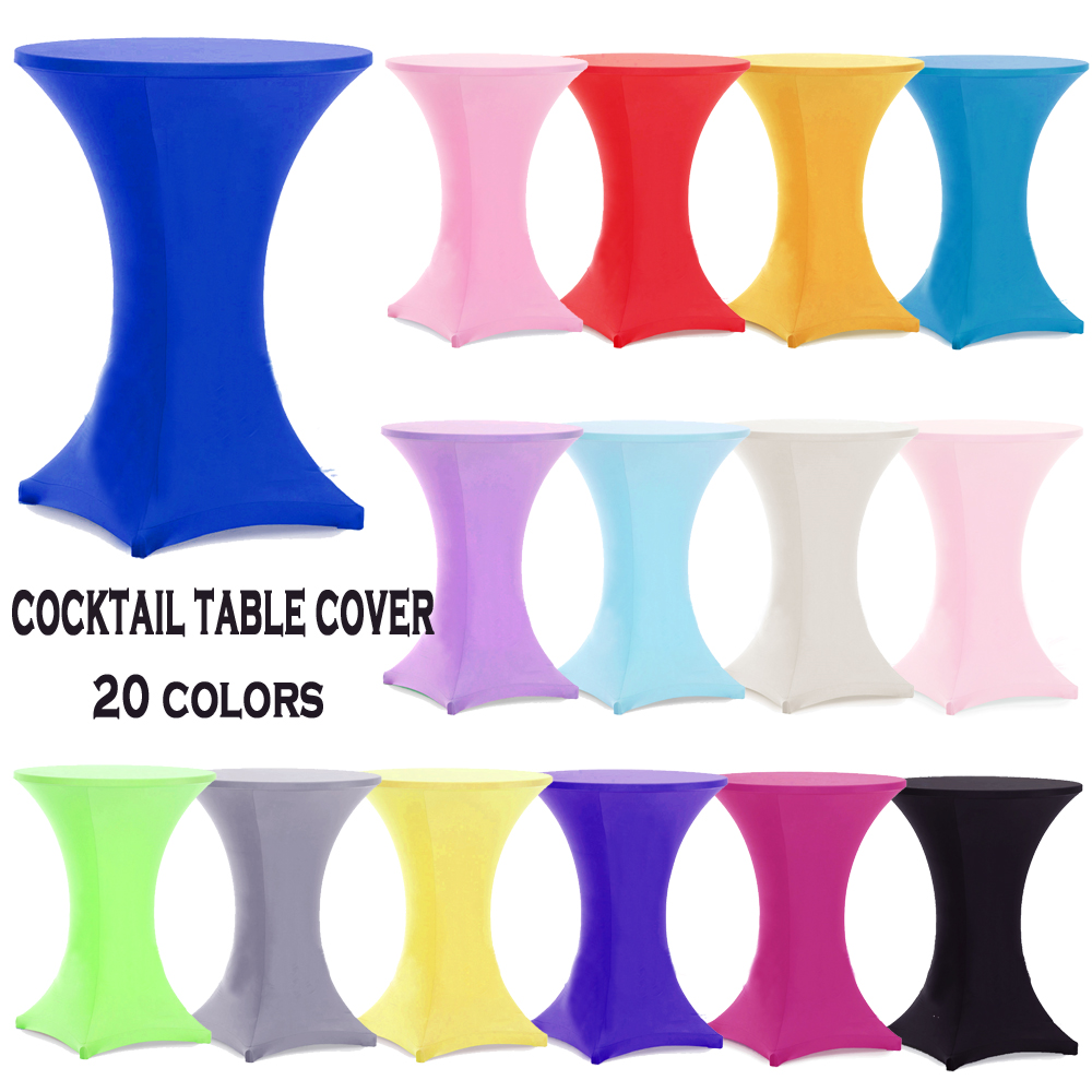 10pcs Round Based Stretch Bar Table Covers Spandex Lycra Cocktail Table Covers For Hotel Party Wedding