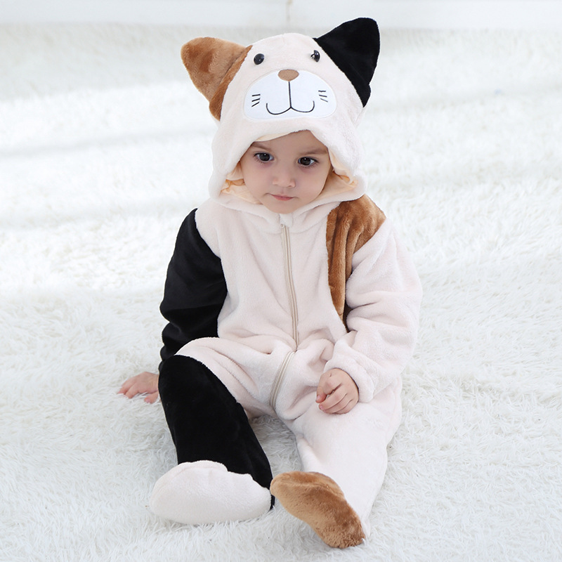 Baby Boy Girl 2018 Spring and Autumn New Tea Rice Cat Flannel Rompers Cartoon New Born Cotton Romper Playsuit Clothes