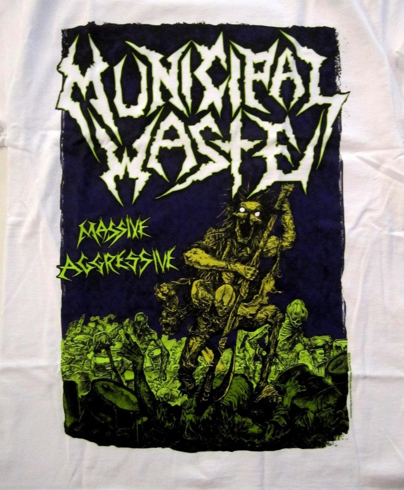 MUNICIPAL WASTE cd cvr MASSIVE AGGRESSIVE Official White SHIRT XL new ...