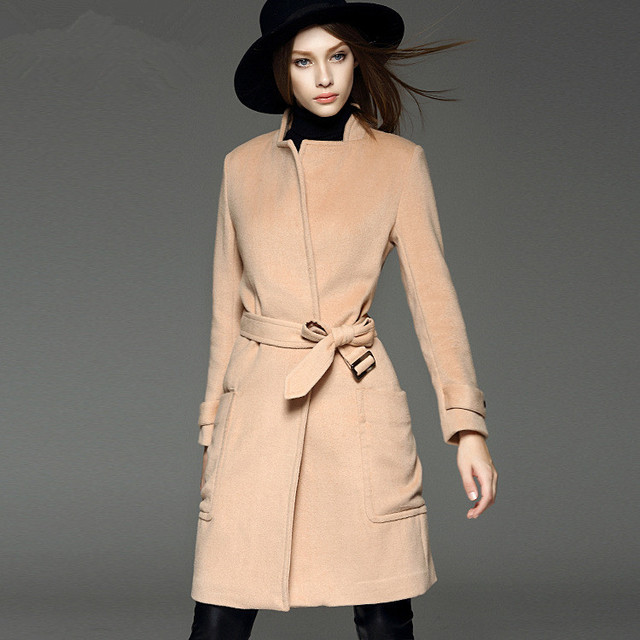 Style simple Trench avec ceinture femme classique manteau de laine de  chameau lâche Type cachemire pardessus