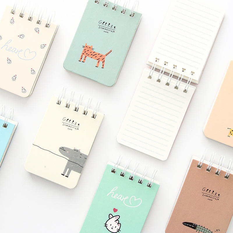 Lovely heart notepad Portable journal daily memo Cute animal tiger giraffe notebook planner agenda office School supplies A6795 2018 pet transparent sticky notes and memo pad self adhesiv memo pad colored post sticker papelaria office school supplies