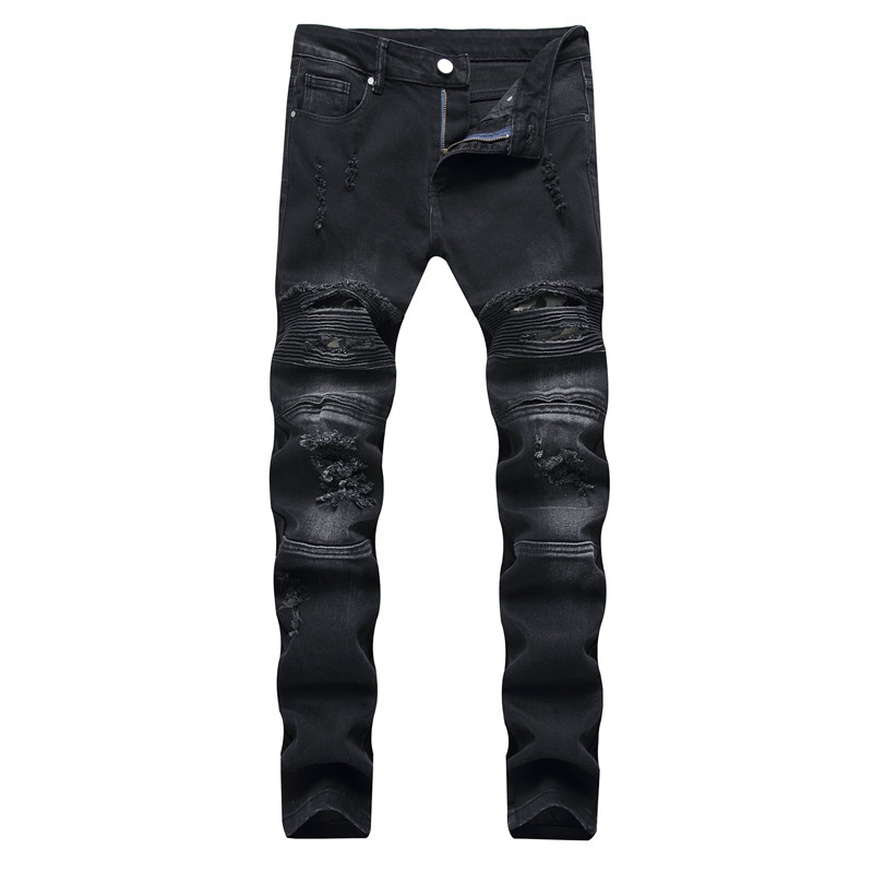 2019 New Men's Jeans Men's Pleated Motorcycle Pants Micro-Small Straight Slim Men's Worn Jeans More Size 28-40
