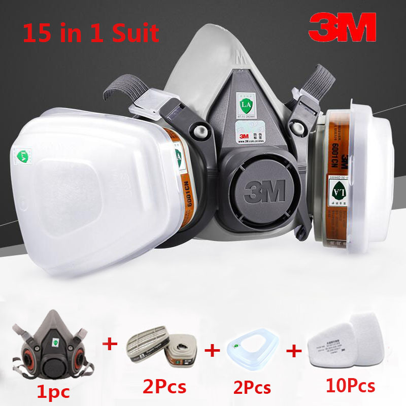 15 in 1 Suit Painting Spraying 3M 6200 Half Face Gas Mask Respirator Chemcial Industry anti Dust Work Respirator Mask 9 in 1 suit gas mask half face respirator painting spraying for 3 m 7502 n95 6001cn dust gas mask respirator