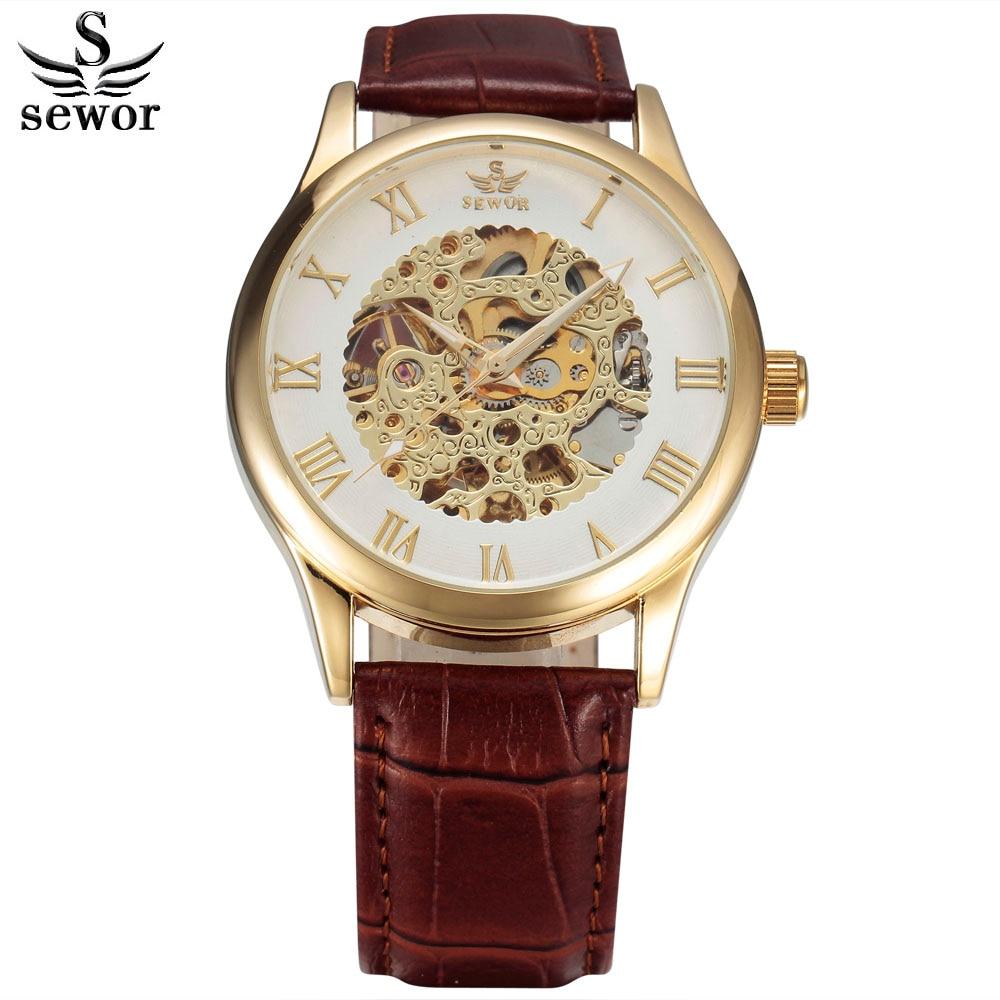 SEWOR Mode Klockor Män Top Märke Luxury Gold Skelett Mekanisk Armbandsur Brun Läder Rem Menar Analog Automatisk Klocka