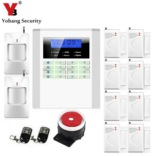 Yobang Security Dual Network Alarma LCD Display Home Wireless GSM Alarm System 850/900/1800/1900mhz Voice Prompt Alarm efcom pro wireless 850 900 1800 1900mhz gprs gsm module w antenna white