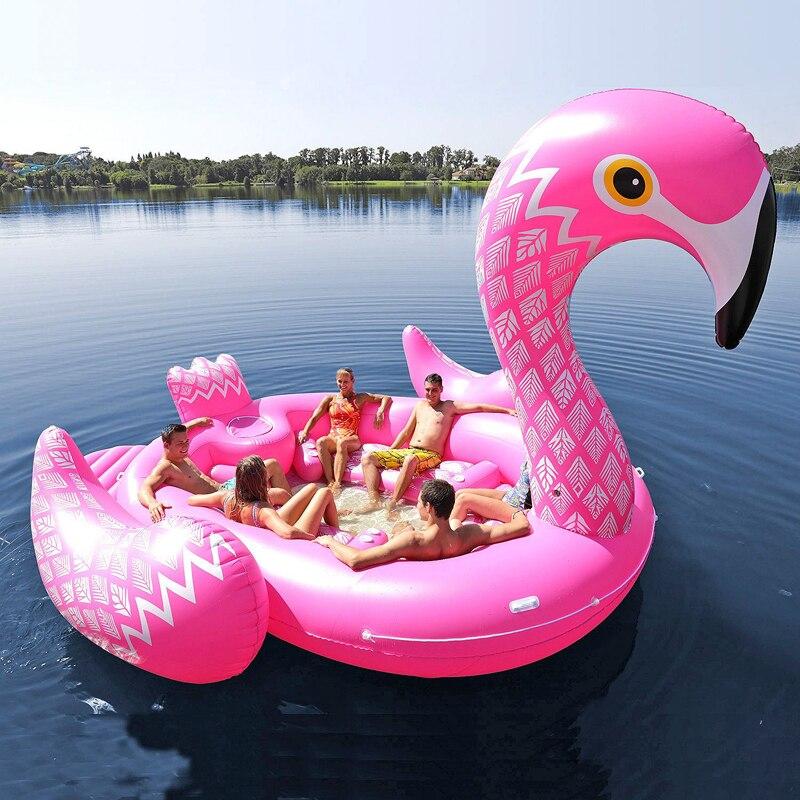 Adapte Sept Personnes 530 cm Ginormous Flamingo Géant Licorne Gonflable Bateau Piscine Partie Float Air Matelas Jouets Anneau Natation boia