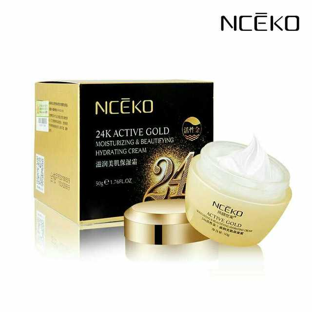 NCEKO 24K Active Gold Face Cream Moisturizing Skin Care Anti Wrinkle Whitening Brightening Firming Hydrating Anti-Aging Beauty