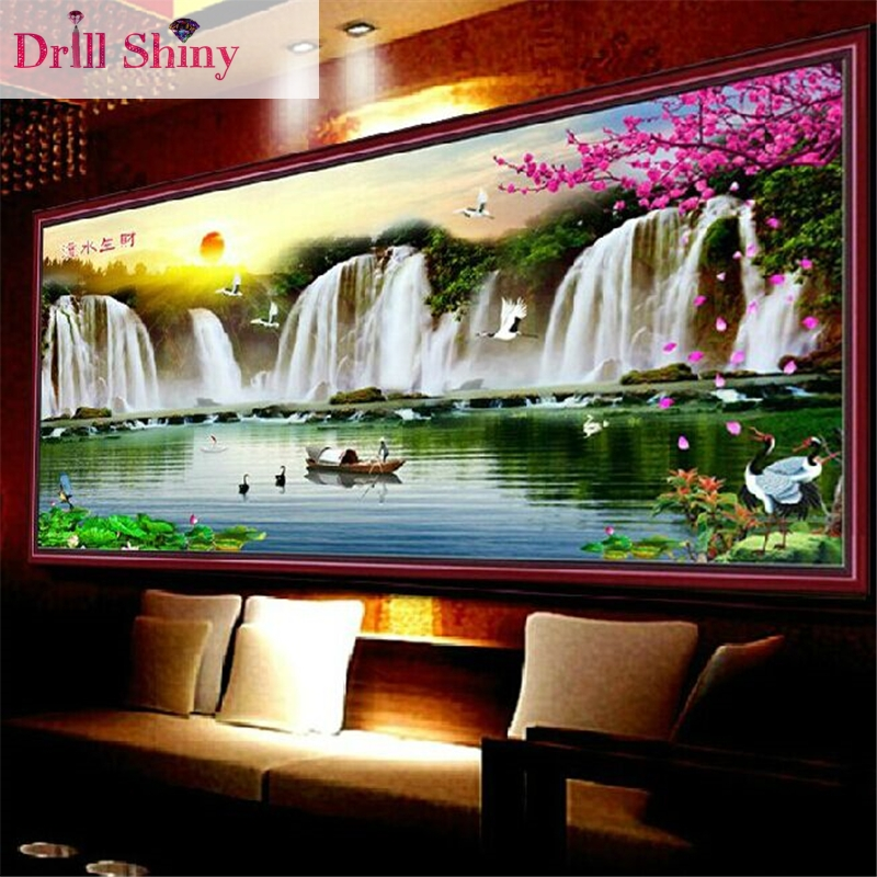 CNA 5D DIY Diamond painting Waterfall Scenery Crystal Rhinestone Art Needlework Mosaic Embroidery Landscape Cross Stitch Kits