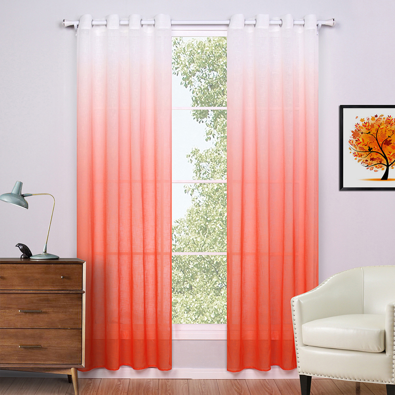 Sheer Curtains For Living Room Modern European Style Curtains Printed Orange  Window Screening Curtain Free Shipping