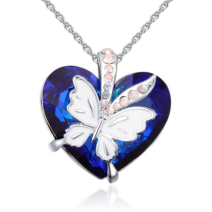 Collier avec pendentif en cœur bleu Swarovski, en cristal, papillon, pour  cadeau de saint-valentin, à la mode