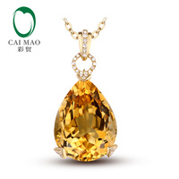 15.97ct Natural Citrine & 0.12ct H SI1 Diamonds 18K Yellow Gold Engagament Pendant