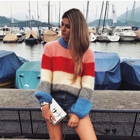Khale Yose Autumn Rainbow Striped Oversized Sweater Pullovers Women Bohe Chic Mohair Knitted Loose Female Sweatesr Jumper 2019